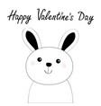 happy valentines day bunny rabbit hare face head vector image vector image