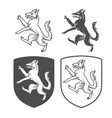 Heraldic shields with dog vector image