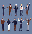 icons of men in suit at party vector image