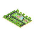 isometric design of green city park with vector image