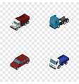 isometric transport set of freight car truck and vector image vector image