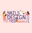 nail design service typographic header with female vector image