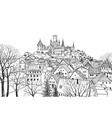 old city skyline medieval castle view landscape vector image