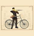 retro vintage old bicycle and military man vector image vector image