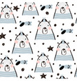 seamless childish pattern with cute bears air vector image vector image