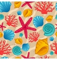 Seamless pattern with seashell vector image vector image