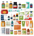 set isolated pharmacy items or medicine drugs vector image vector image