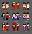 set of asian pairs dressed in different national vector image vector image