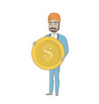 successful hindu businessman with dollar coin vector image vector image