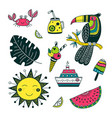 summer time set in ethnic tropical style colorful vector image vector image