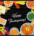 thanksgiving meal on the table vector image vector image