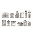 vintage buildings icons set in linear style city vector image