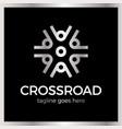 wheel crossroad logotype vector image vector image