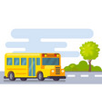 yellow school bus in street vector image vector image