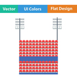 Stadium tribune with seats and light mast icon vector image