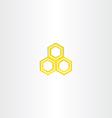 yellow logo honey comb icon vector image