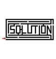 a maze with the word solution vector image