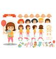 girl kid playing toys cartoon child vector image
