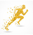 abstract running man from colorful triangles vector image vector image