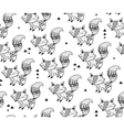 Black and white seamless pattern with foxes vector image vector image