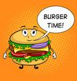 burger cartoon pop art vector image vector image