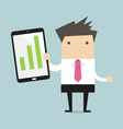 Businessman holding a tablet with growing graph vector image