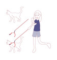 cat walk on a leash by girl vector image