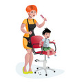 children hairdresser little boy master vector image vector image