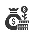 coin tree on stack of coin and money bag profit vector image vector image