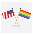 crossed united states of america and prida flags vector image