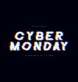 cyber monday sale glitch banner advertising vector image vector image