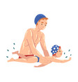 dad teaching her little son to swim in swimming vector image vector image