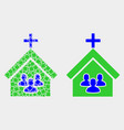 dot and flat church people icon vector image vector image