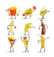 Fast Food Cartoon Characters Set vector image vector image