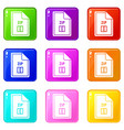 file zip icons 9 set vector image vector image