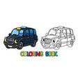 funny small taxi car or london cab coloring book vector image vector image