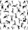 girls doing sport exercises seamless pattern for vector image vector image