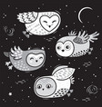 hand drawn night card with cute little flying owls vector image