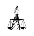 hand lady justice holding weighing scale vector image vector image