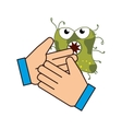 hand with bacteria germs vector image