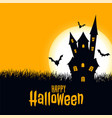 happy halloween scary card castle with moon vector image