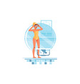happy woman coaches and swimmers adjusts swimming vector image vector image