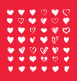 heart icons set hand drawn icons vector image