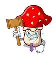 judge amanita mushroom mascot cartoon vector image vector image