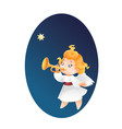 kid angel musician flying on a night sky makin vector image vector image
