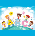 kids and alphabet characters vector image vector image