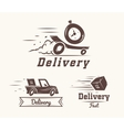 logo fast delivery watch car and box vector image