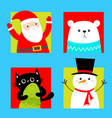 merry christmas set black cat white bear santa vector image vector image