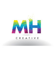mh m h colorful letter origami triangles design vector image vector image