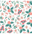 misteltoes and christmas flowers pattern white vector image vector image